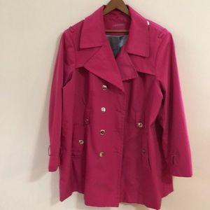 CALVIN KLEIN Sz 2X Pink Nylon Trench Coat